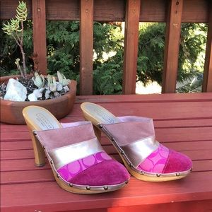 COACH Pink Katy Clogs/Mules